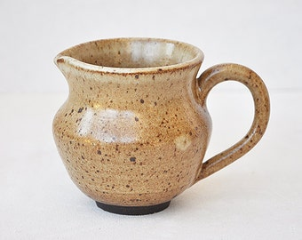 Wheel Thrown stoneware speckled small pitcher