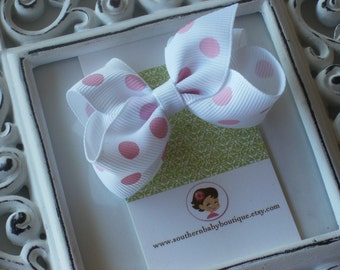 New Item----Little Baby Toddler Girl Hair Bows 2.5 inch Clip or Headband----White with Pink Dots----Ready to Ship