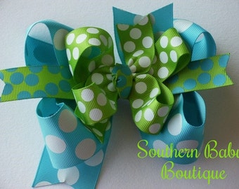 NEW----Big Boutique Doubled Layered Hair Bow Clip---Summer Splash---Aqua and Lime Green