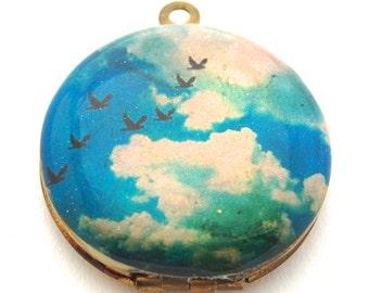 Vintage Locket Necklace Birds Flight in Sky Clouds Blue Sky Bird Locket Bird Jewelry Unique Gift Keepsake Necklaces Brass Gold Customize