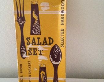 1970's SALAD SET japan kitsch HARDWOOD salt and pepper shakers spoon fork