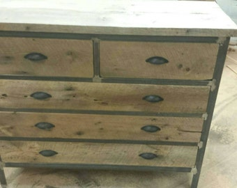YOUR Custom Industrial and Rustic Barn Wood 5 Drawer Dresser FREE SHIPPING-CIRBWD1225F