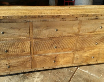 YOUR Custom Made Rustic Barn Wood Entertainment Center or Dresser with 9 drawers FREE SHIPPING - BWE9D1300F