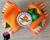 Orange Bird hair bow on choice of clip