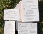 LDS Wedding Invitations, Letterpress Wedding Invitations, Blush and Charcoal Wedding Invites DEPOSIT