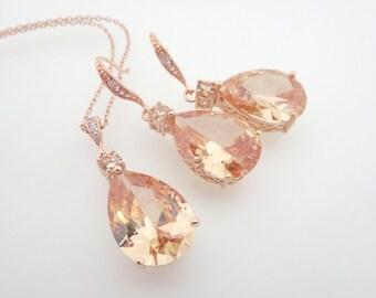 Rose Gold Bridal jewelry SET, Rose Gold necklace, Crystal Bridal earrings, Champagne crystal earrings, Rose Gold earrings, Swarovski