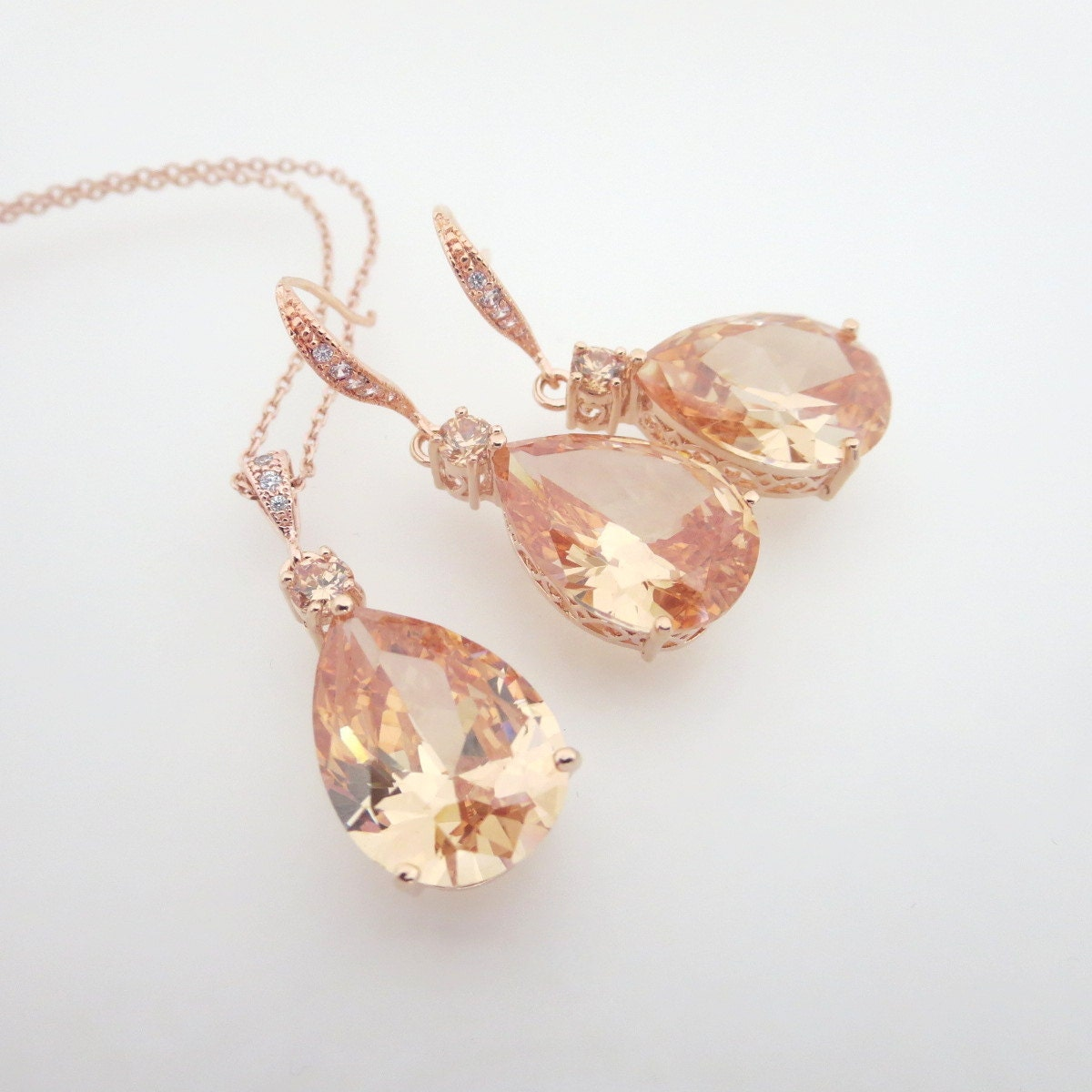 Rose gold bridal jewelry set rose gold necklace crystal for Jewelry for champagne wedding dress