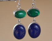 Green Onyx - Lapis Lazuli Sterling Silver Earrings. SKY MEETS EARTH Earrings. Deep Blue Lapis & Green Onyx Gemstone Silversmith Earrings.