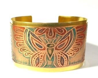 Butterfly Cuff, Etched Cuff, Mixed Metal Cuff Bracelet