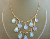 Isis -- Rainbow Moonstone Bib Necklace