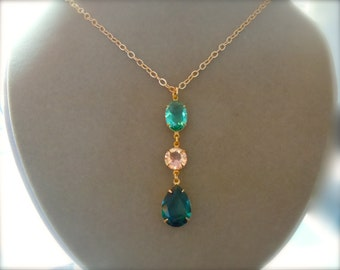 NEW MARKDOWN: Light Green, Peach, and Emerald Crystal Focal Necklace -- Customizable