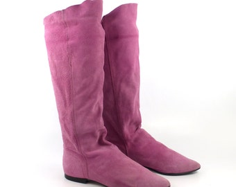 Boots Pink Flat Suede Vintage 1980s  Pixie Leather Riding  Slouch  Women's size 7