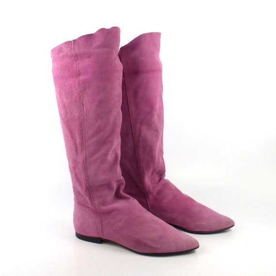 boots pink flat suede vintage 1980s pixie leather