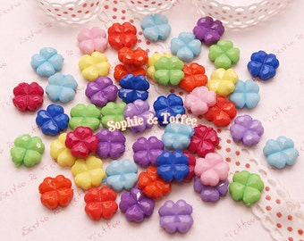 Colorful Faceted Clover Beads / Acrylic Beads / Leaf Beads - 50g (143pcs approx.)