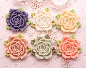 Big Gorgeous Matte Flower Cabochons Set of 6pcs