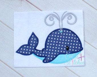 Fancy Whale Embroidery Applique Design