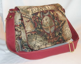 Purse Medium-Sized Shoulder Bag Flap Tapestry Fabric Old World Map Victorian Extra Zipper Pockets