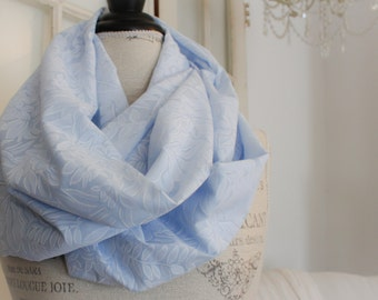 sky blue tropical flowers infinity scarf