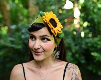 Felt Head Band-Sunflower Head Piece-Fairy Head Wear-Woodland Costume-Felt Head Wear-Costume OOAK