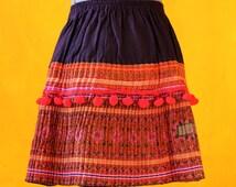 Red Purple Linen Needle stiching Embroidery Skirt, Medium size, Folk, Handcraft, Eco Friendly Clothing, Slow Fashion, Ethical Clothing