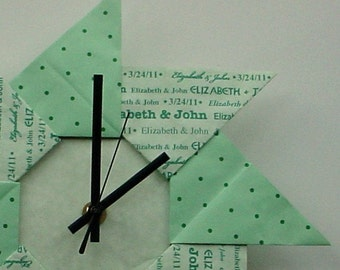 Whimsical 1st Anniversary/Wedding Origami Gift Clock - Green with Dots