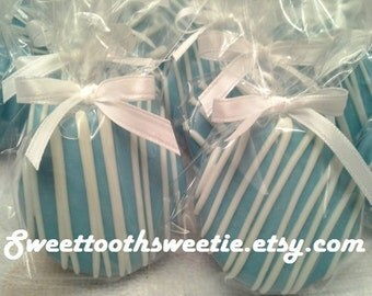 Blue Chocolate Covered Oreos Cookies Wedding Favors Baptism Favors Chocolate Dipped Oreos Christening Favors It's a Boy Cookies Treats