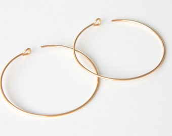 "Gold Hoop Earrings - Reverse Gold Hoops - Modern Everyday Earrings - Simple Earrings - 1.75"" Hoop Earrings - Gold Simple Earrings"