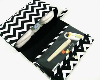 Chevron diaper bag, baby bag organizer, black diaper clutch, diaper purse with clear zipper pouch