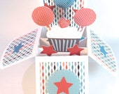 Pop Up Birthday Card In Box Customizable Unique Cupcake Glittered Add any Age Gender Neutral 3D Folds Flat