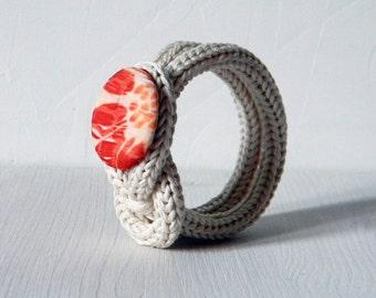 Minimalist bracelet  | Fiber jewelry | Floral, ivory, orange, burnt orange, tangerine.