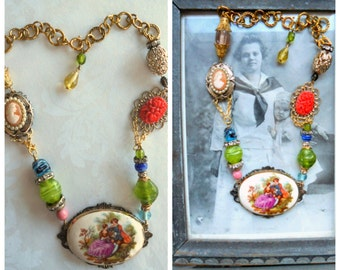 "Vintage Assemblage One of a Kind Reworked Handmade Porelain Cameo Courting Couple Necklace 18"" One of a Kind"