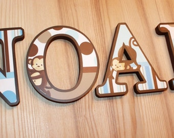 WOODEN WALL LETTERS Blue and Brown Pop Monkey Bedroom Baby Nursery Wall Name - Price Per Letter