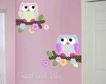 Fabric WALL DECALS Pink and Purple Owls Girls Owl Flowers Tree Nature Forest Bedroom Playroom Baby Nursery Stickers Kids Wall Art Decals