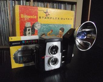 1950's Kodak Brownie Starflex Camera with Flash, Original Box, Instructions, & Bulbs