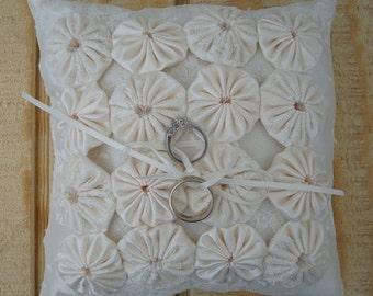Ring Bearer Pillow - Off White Pillow - Yo Yo Pillow - Small Ring Bearer Pillow
