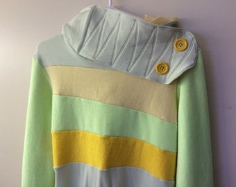 LEMON LIME - Hoodie Sweatshirt Sweater - Recycled Upcycled - One of a Kind Women - SMALL