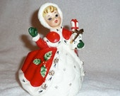 Vintage Christmas Headvase Planter Relpo Lady Gifts Shopper Head Vase Napco Lefton Red White