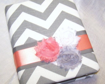 GUEST Book, BABY Shower Guest Book, Advice Book, Grey and White Chevron fabric,Coral and Gray, Custom Colors available