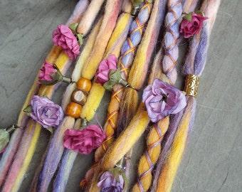 10  Mustard Rose Flower Maiden Tie-Dye Wool Synthetic *Clip-in Dreadlock Extensions Boho Dreads Hair Wraps & Beads Custom
