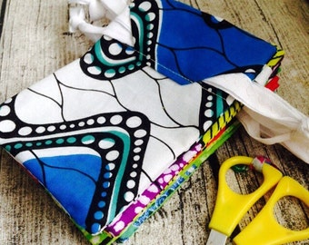 Custom quantity re-usable gift bag, pouch, drawstring bag, Jewellery bag made from African wax print