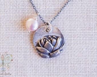 Rustic Lotus Necklace