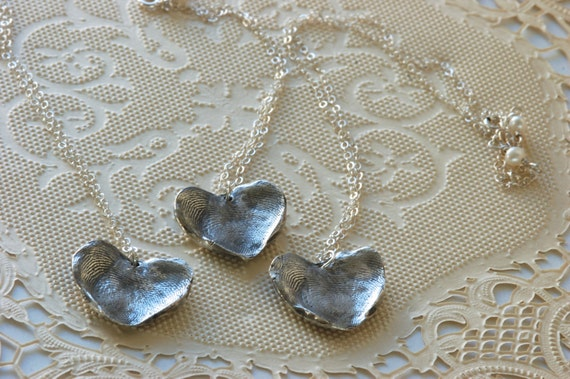 Fingerprint Jewelry - Rustic Wedding - Thumbprint Set for Bride & Mother-In-Laws