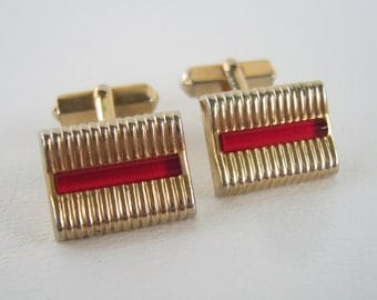 Vintage Swank Cuff Links Gold Red Lucite