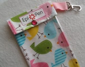 Epi Style Allergy Pen Pouch 4x8 Holdsup to 2 Injector Pens w/ Clear Pocket and Clip - Birds in Spring Fabric - You Choose Size