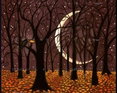 The Last Leaf a Fall Autumn Crow woods crescent Moon Print by Deborah Gregg