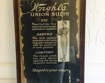 Antique Clothing Union Suits Framed Store Advertising