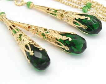 Emerald Jewelry Set,Green Crystals 22 K,Gold Steampunk Filigree Cone,Victorian Bridal Wedding Necklace Earrings Green Jewelry Set