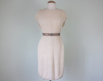 80s cream knit sweater shift dress deadstock sleeveless (s - m)