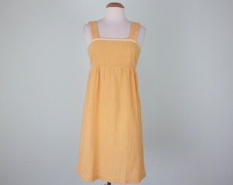 60s sunny yellow cotton empire waist sundress dress mini (xs - s)