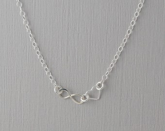 Tiny eternity heart necklace / sterling silver eternity necklace / forever love necklace
